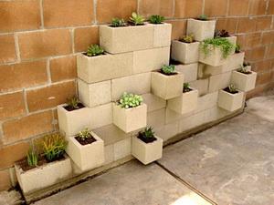 jardinera de bloques de hormigón moderna