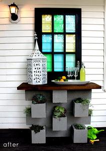 jardinera de bloques de hormigón con barra